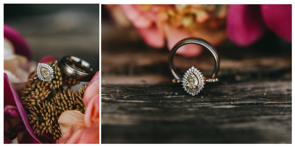 engagement ring band flowers details beach