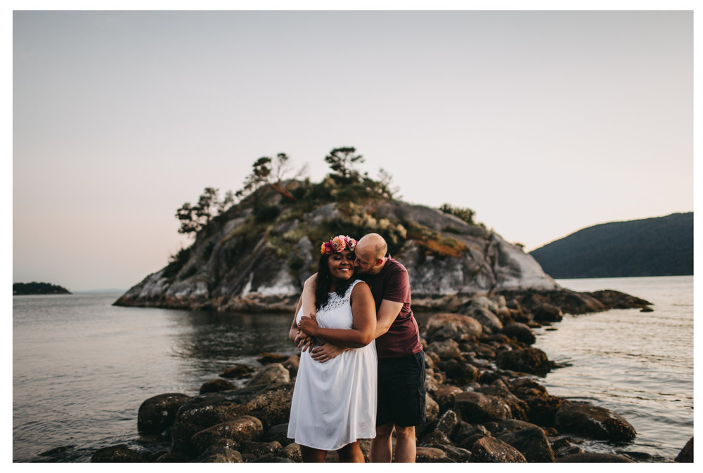 engagement whytecliff park couple hug rock engaged