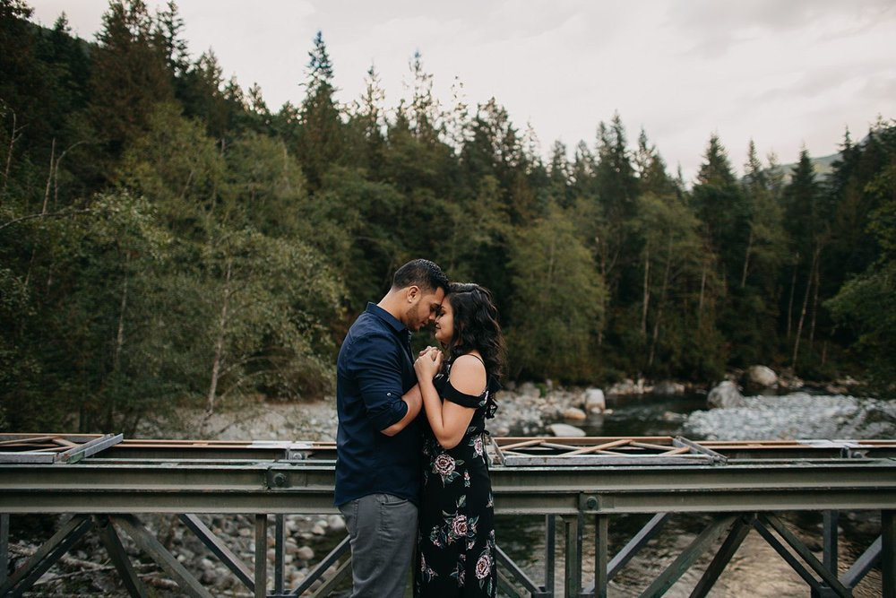 Copy of couple on bridge hug love golden ears park