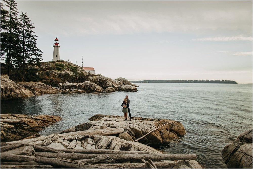lighthouse park couple engagement shoot