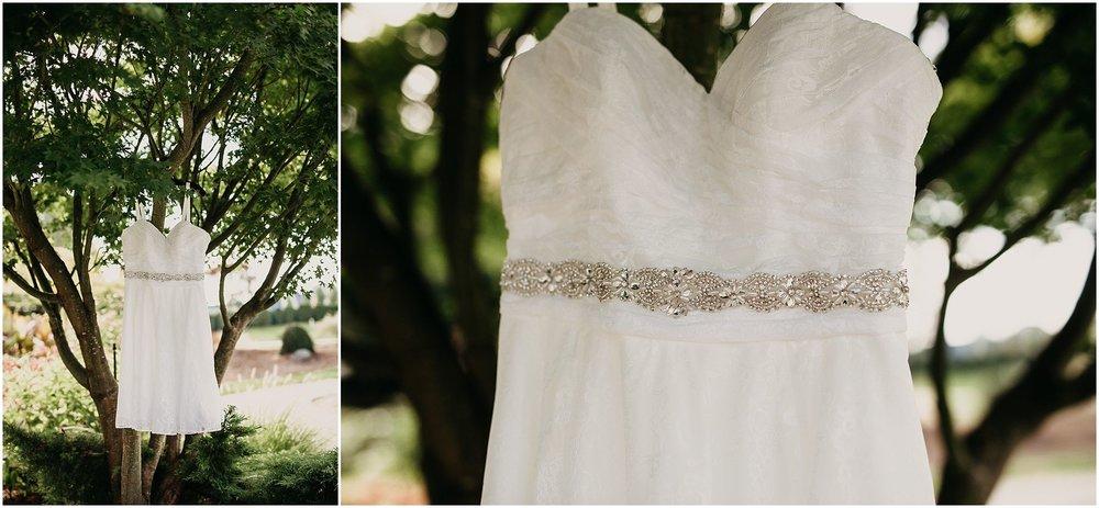 wedding dress hanging in tree pitt meadows wedding