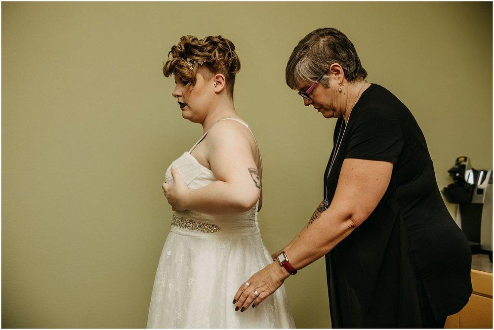 mother of bride helping wedding dress pitt meadows wedding