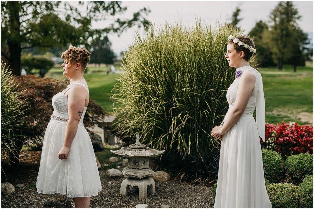 same sex couple first look pitt meadows wedding