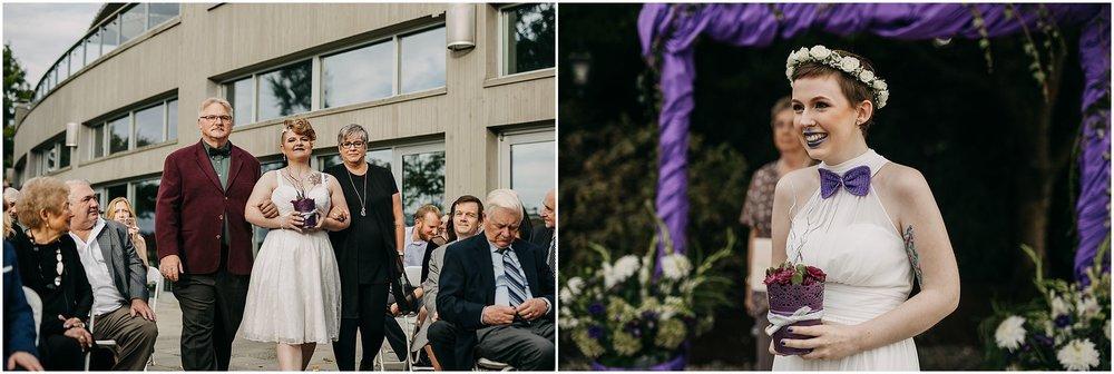 same sex couple reaction at ceremony pitt meadows wedding