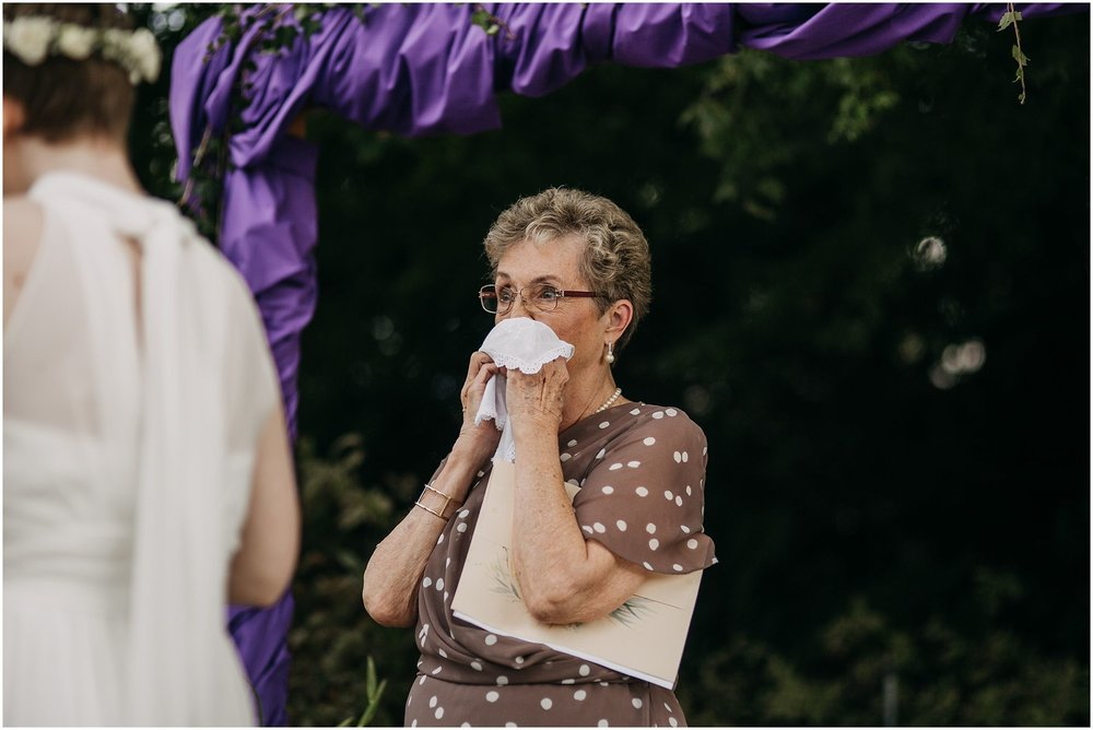 grandmother officiant crying wedding ceremony pitt meadows