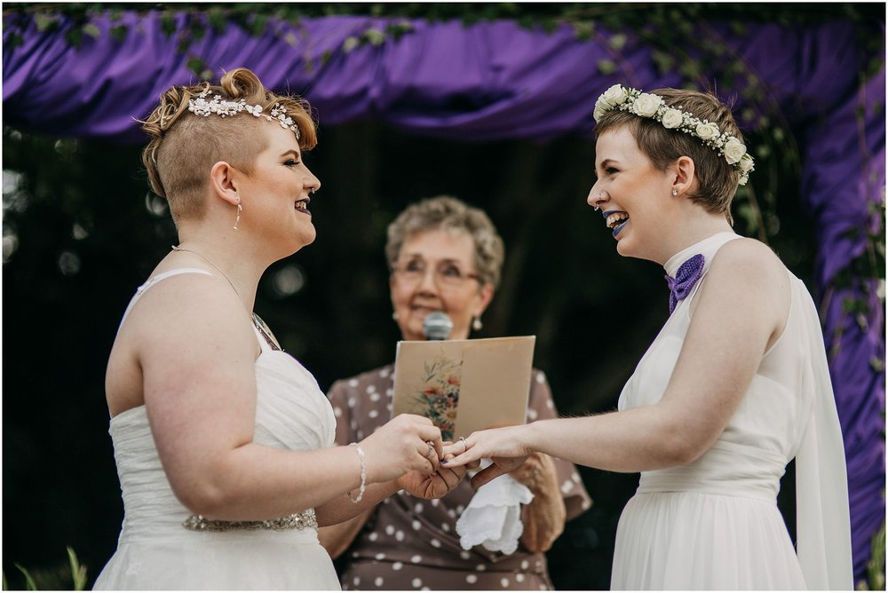 same sex couple ring exchange wedding bands