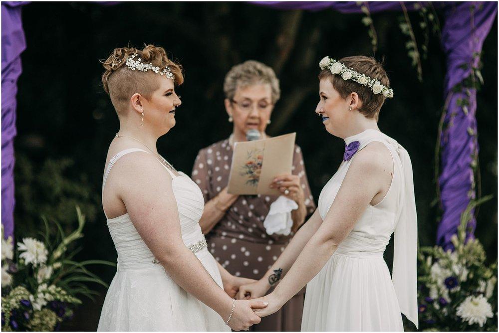 same sex couple first kiss pitt meadows wedding