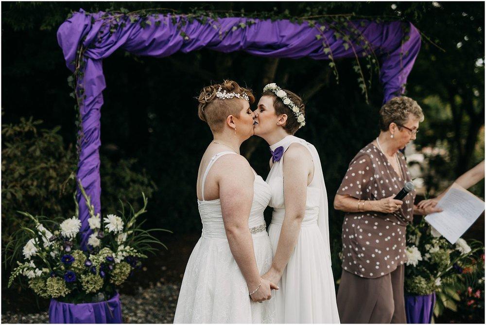 same sex couple first kiss wedding ceremony pitt meadows