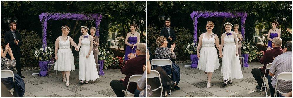 couple ceremony exit pitt meadows wedding