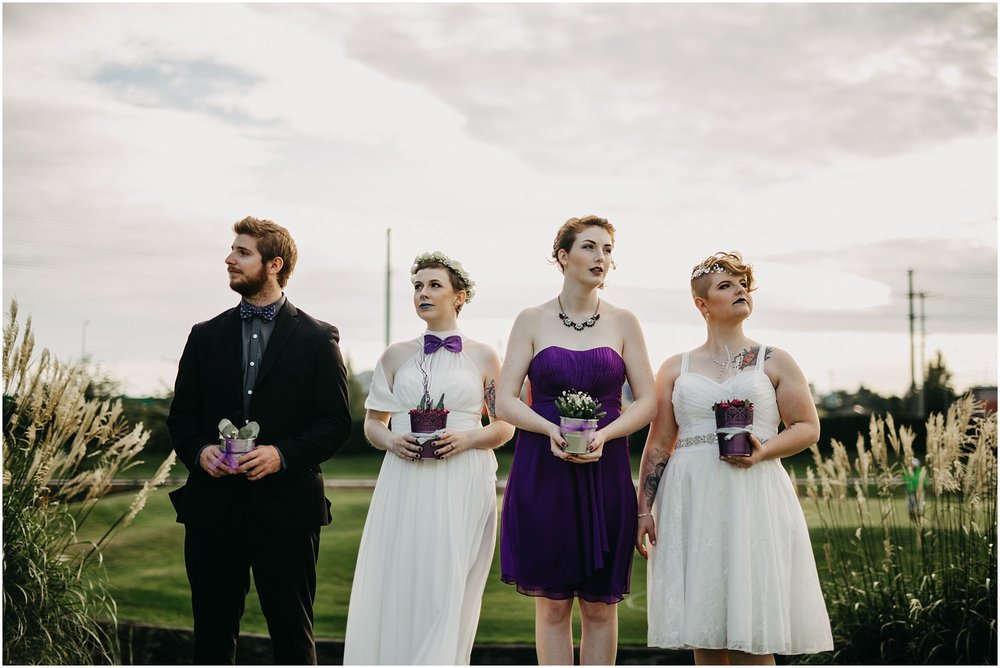 serious wedding party photo cactus pitt meadows wedding