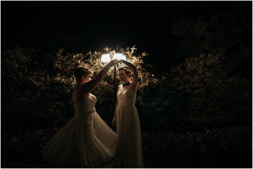 pitt meadows same sex wedding dancing under street light