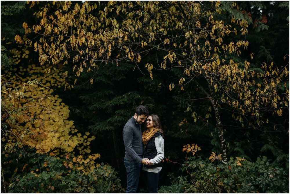 fall autumn leaves colourful engagement session