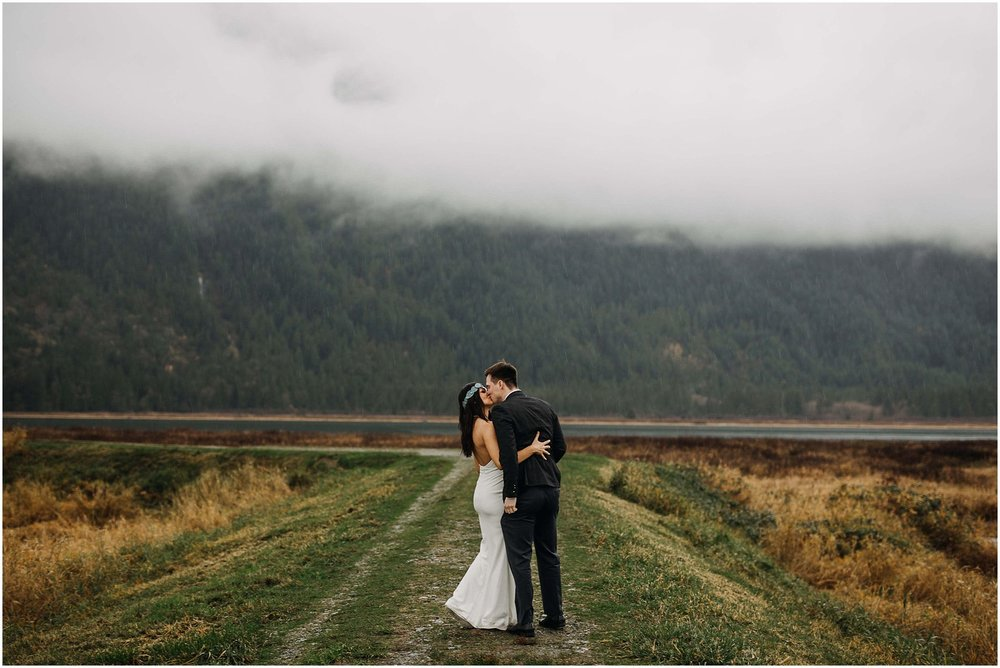 bride groom kiss pitt lake marsh foggy pnw