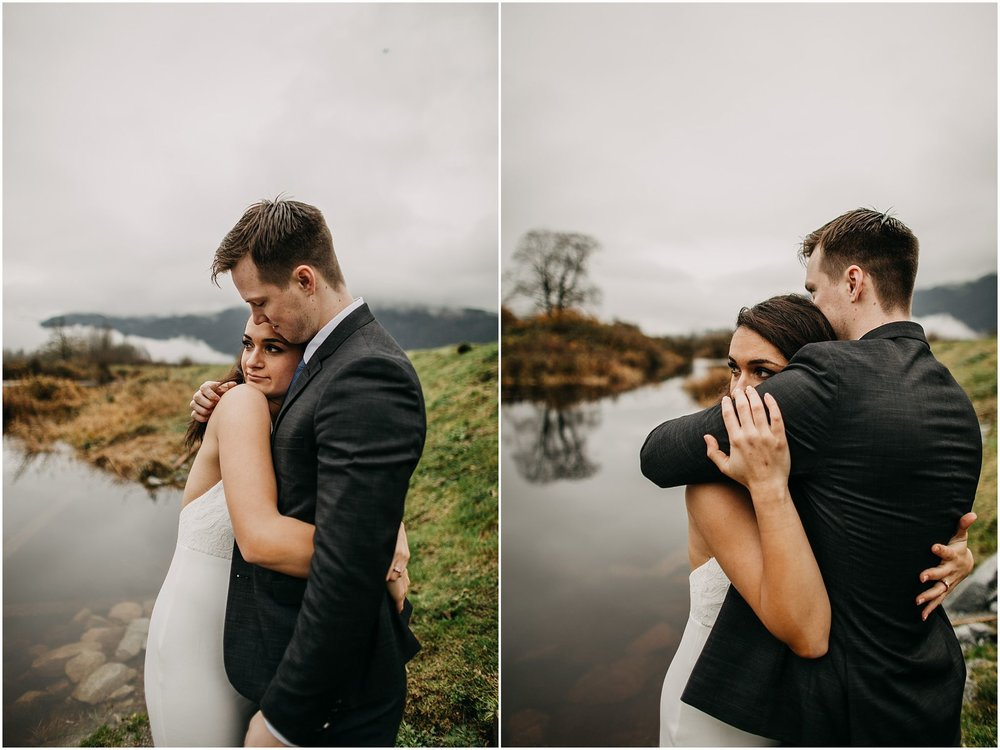 couple bear hug engagement pitt lake intimate moment