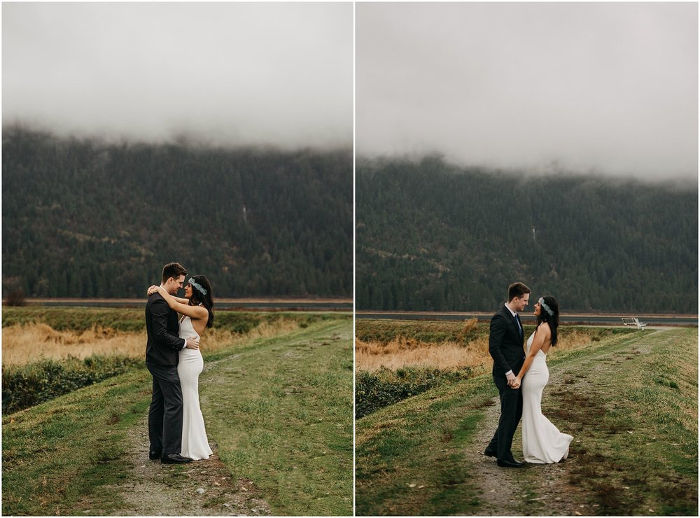 couple hug kiss pitt lake marsh engagement flower crown