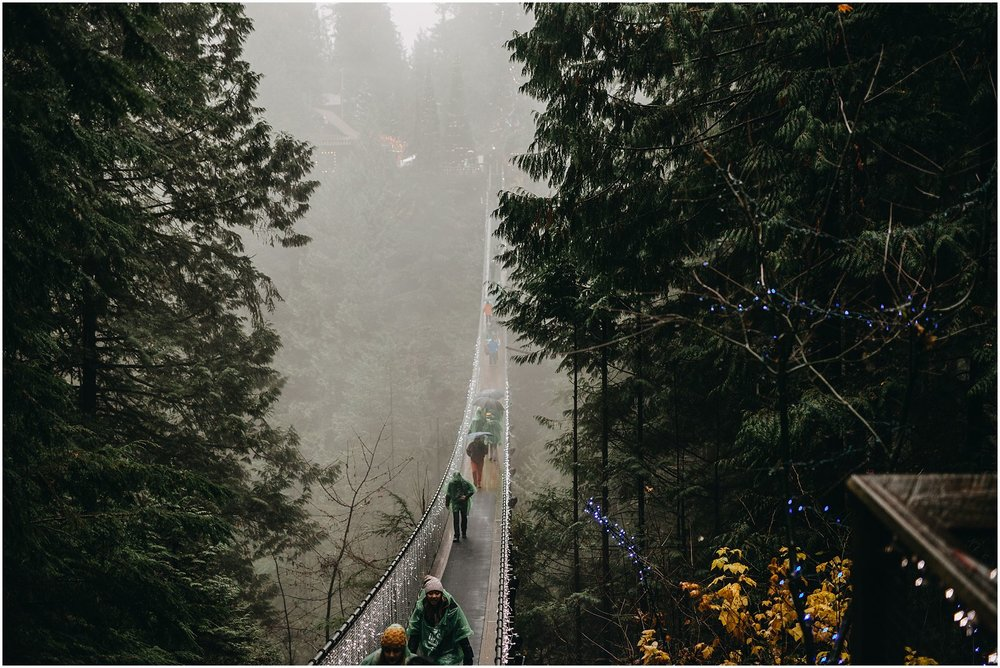 capilano suspension bridge foggy rainy day