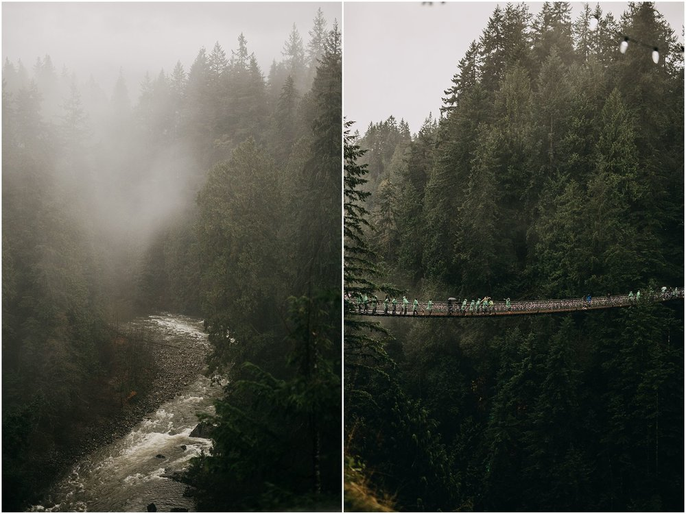 capilano suspension bridge rainy foggy beautiful pnw vibes