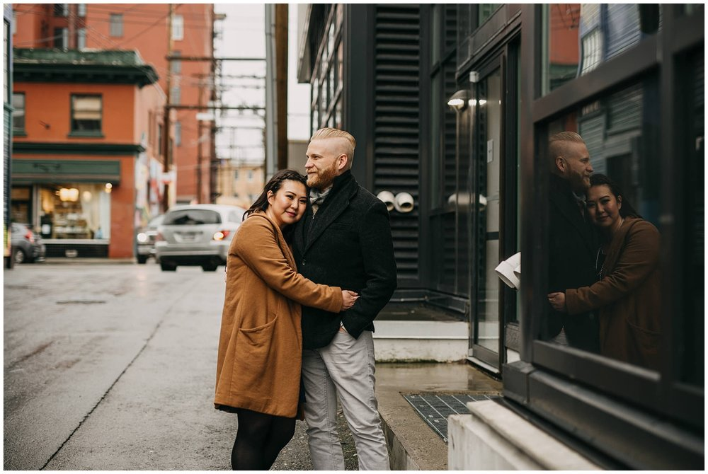 engaged couple engagement vancouver city urban alleyway