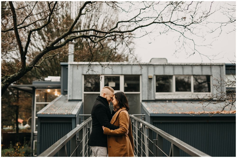 granville island winter engagement photos