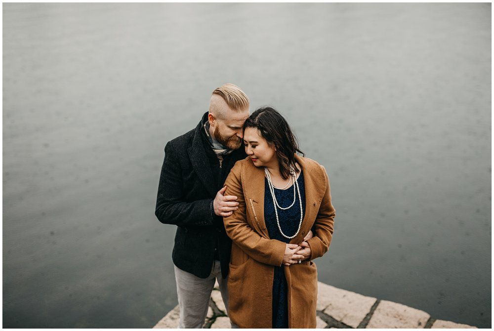 false creek granville island rain couple engagement photos