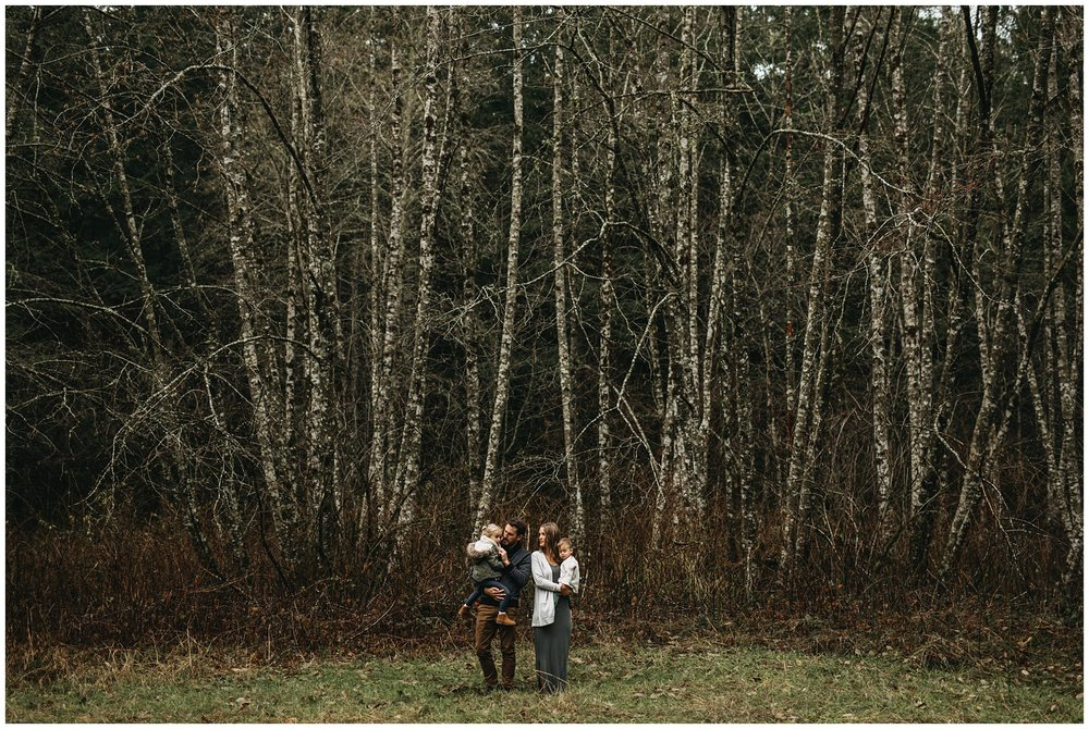 chilliwack forest trees family standing field kids parents