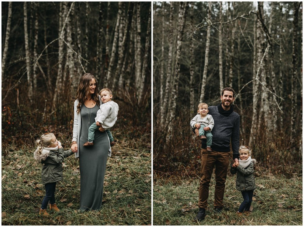 mom dad kids holding hands family chilliwack photos forest trees