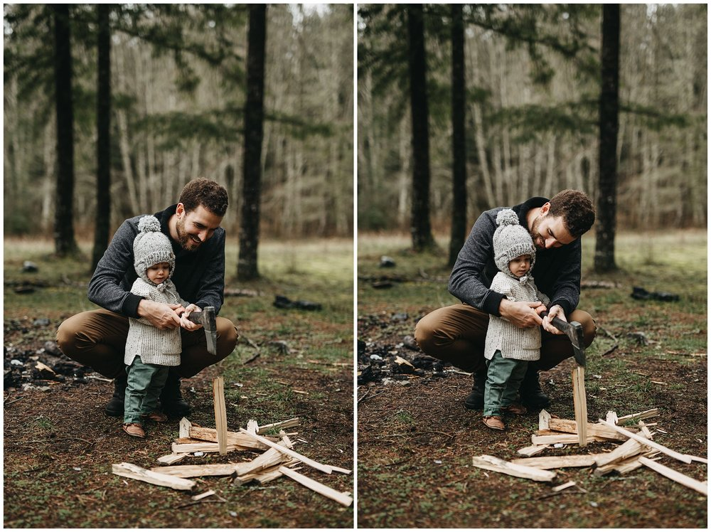 dad and son chopping firewood family session chilliwack forest