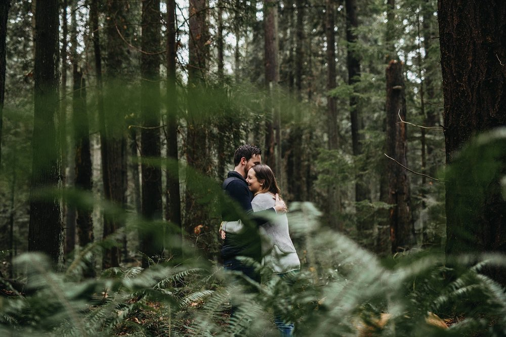 tall trees ferns forest pacific spirit park couples engagement