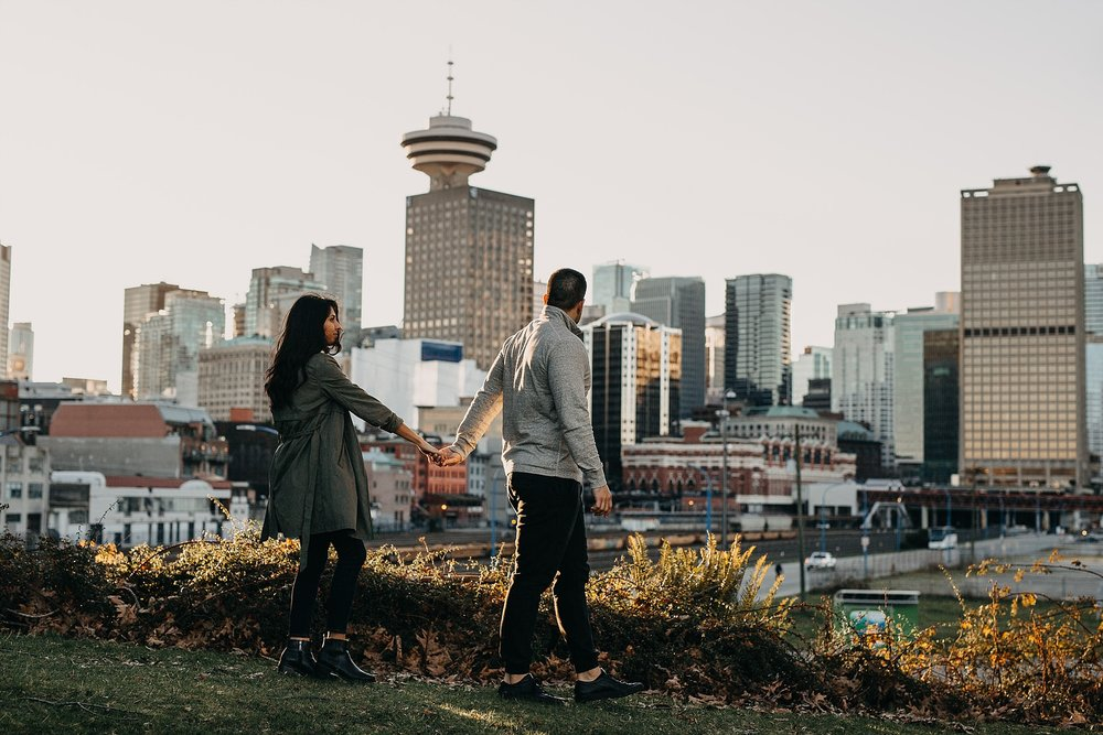 vancouver city skyline downtown engagement session