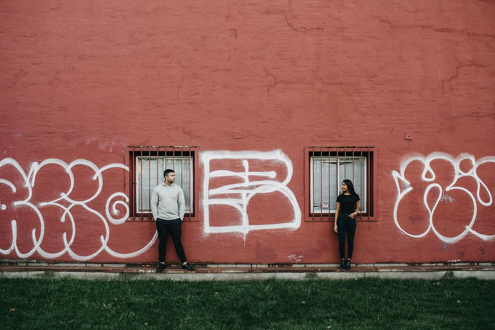 urban city graffiti wall vancouver downtown engagement session
