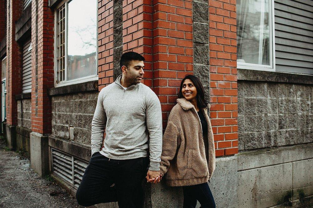 vancouver downtown brick building couple engagement session