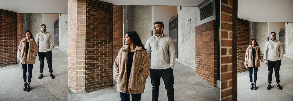 urban city couple downtown vancouver engagement