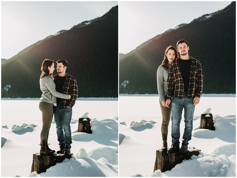 tree stump jones lake chilliwack engagement session sunny snowy