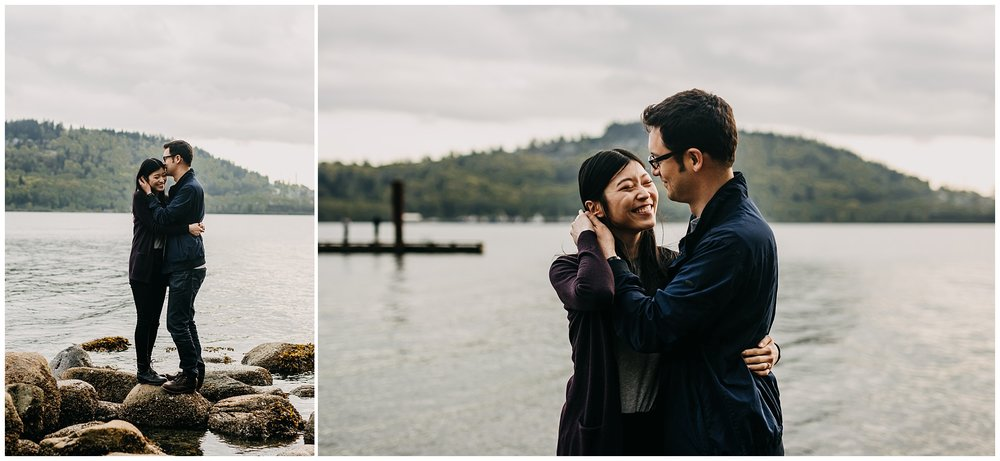 couple hug intimate beach rock sunset north vancouver cates park engagement session