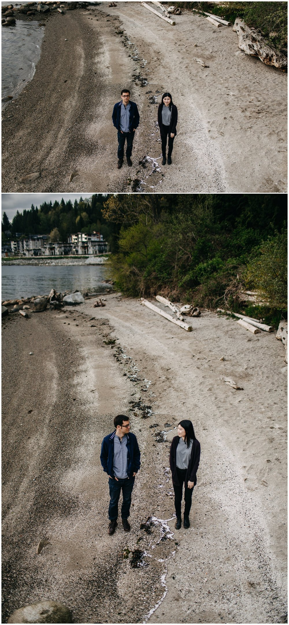 couple sand beach sunset north vancouver engagement photos
