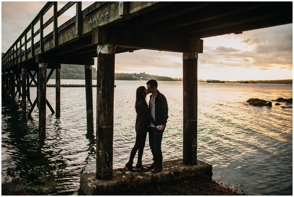 vancouver sunset engagement session beach couple silhouette