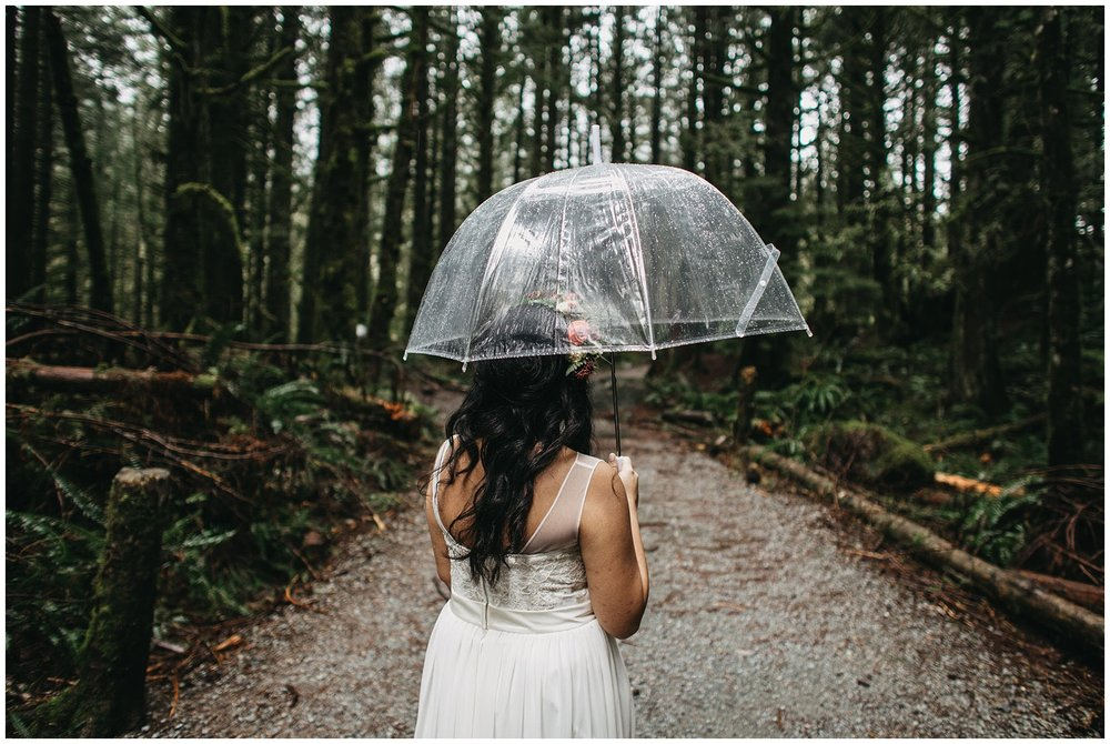 bride walking to first look in golden ears forest intimate wedding