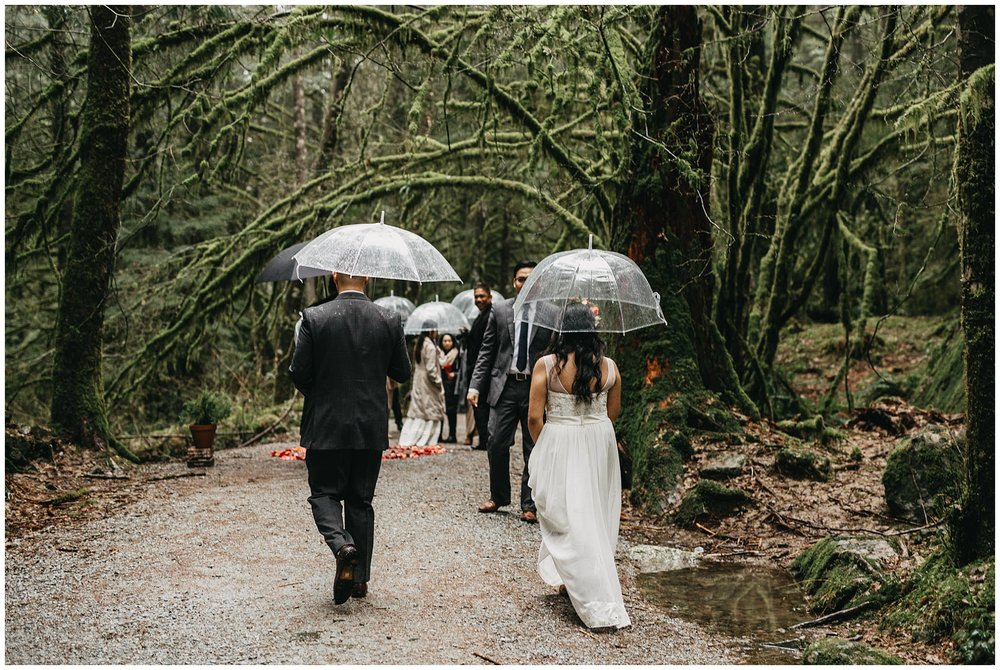 bride groom walking to intimate forest ceremony golden ears park