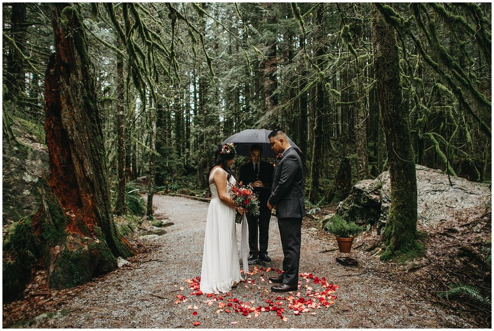 bride groom forest ceremony intimate wedding golden ears mossy rain trees