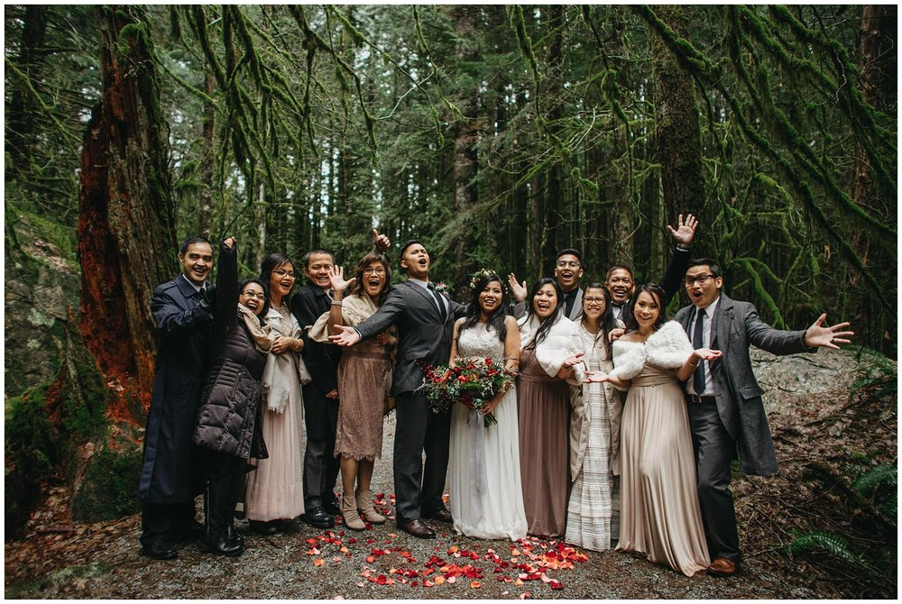 family photo wedding intimate forest wedding golden ears