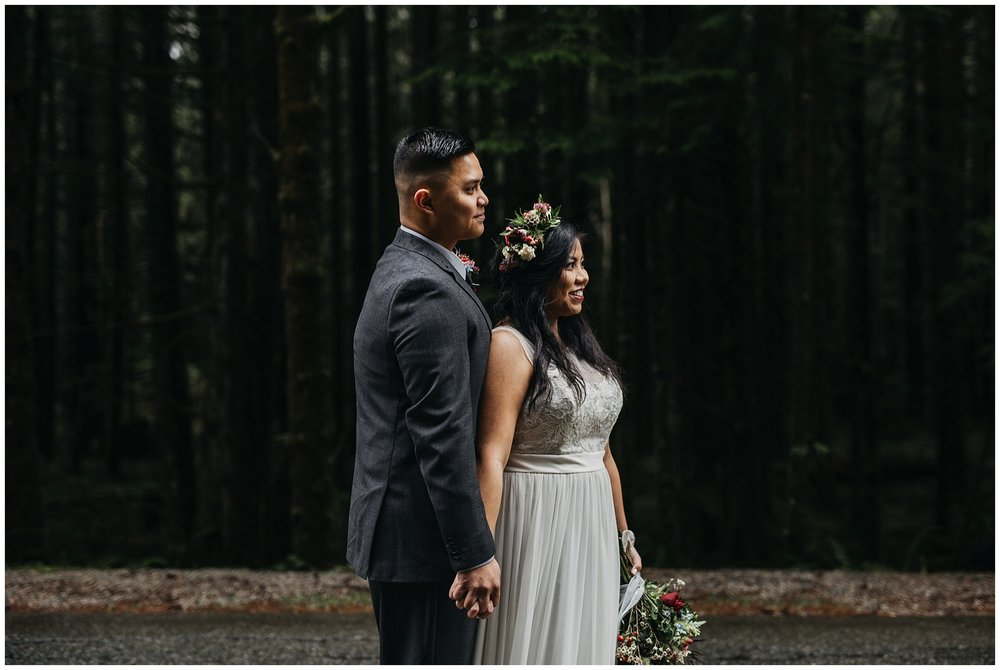 bride groom portrait moody tree lined road to golden ears intimate wedding