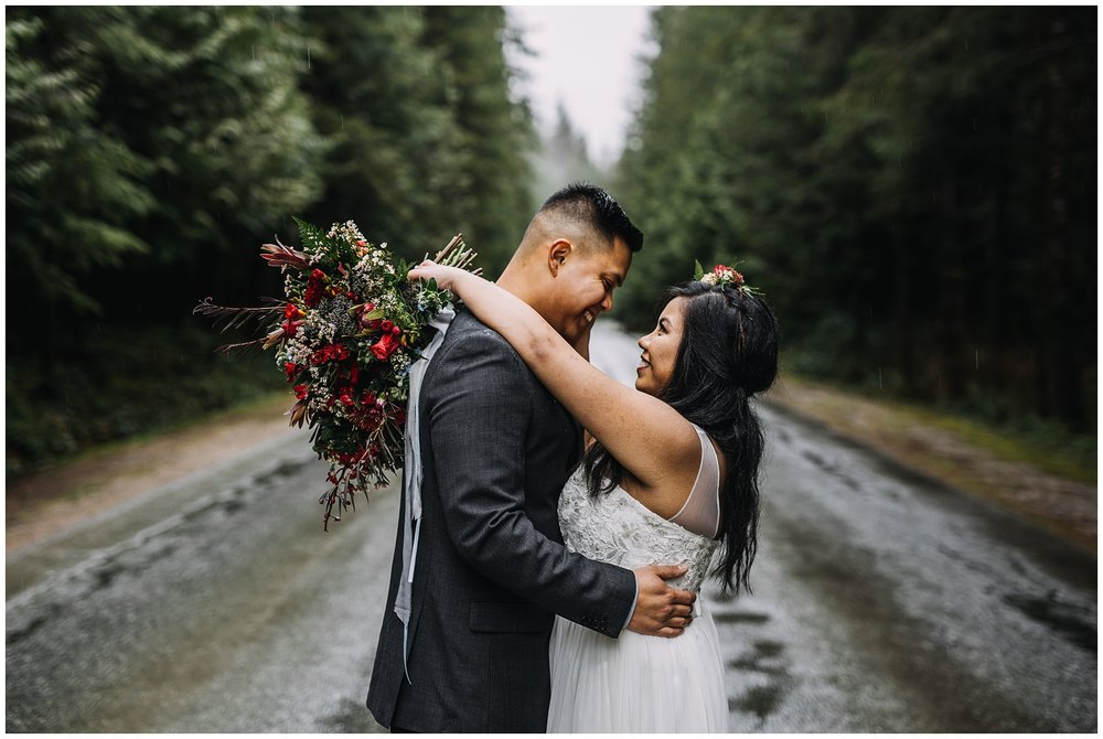 bride groom portrait tree lined road to golden ears park intimate wedding