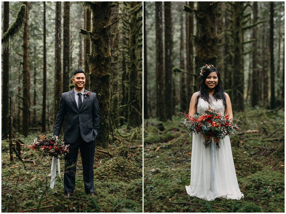 bride groom holding bridal bouquet forest mossy golden ears wedding