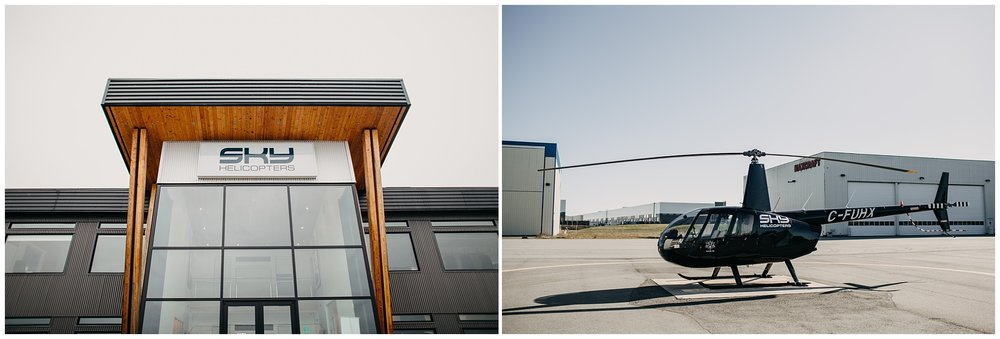 sky helicopters sky hangar wedding bride groom portraits