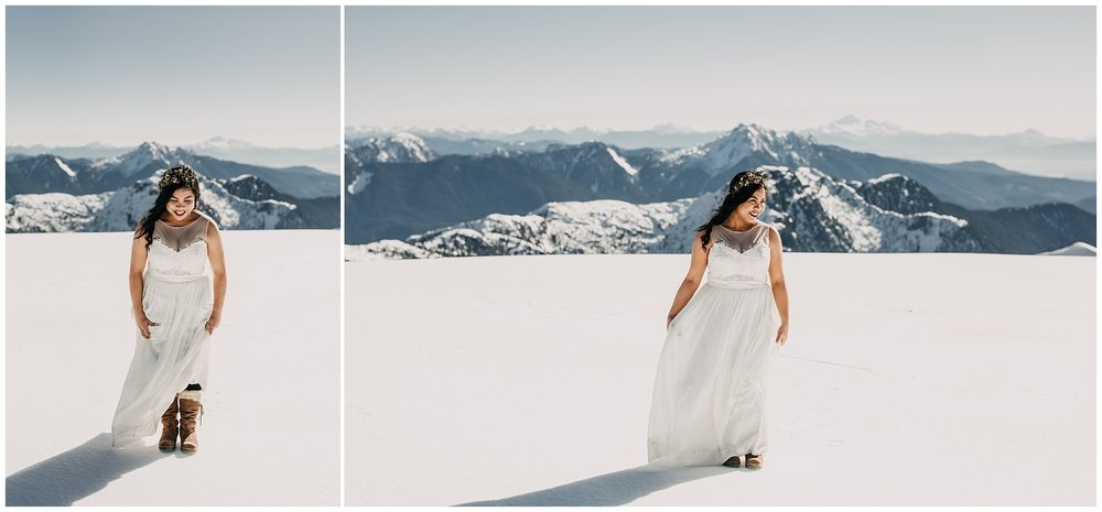 bride snow boots mountaintop sunny snowy sky helicopters wedding