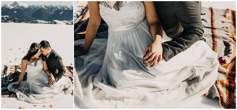 bride groom sitting on sackcloth and ashes blanket mountaintop wedding sky helicopters