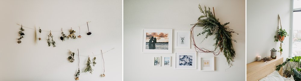 dried flowers gallery wall home decor inspo in home engagement session