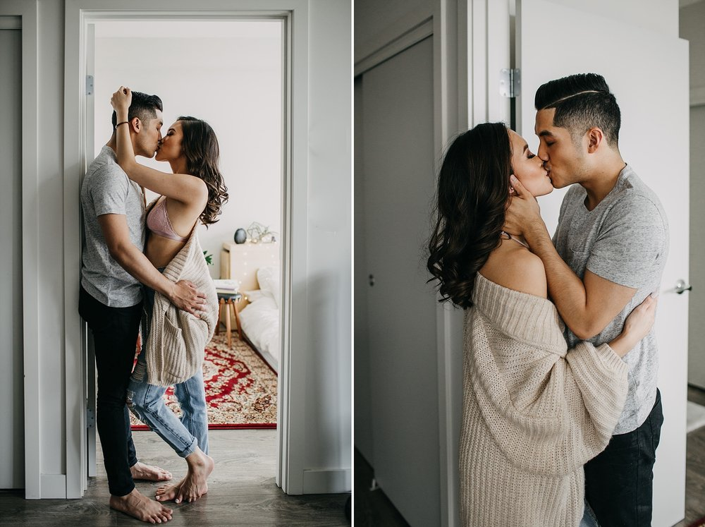 intimate sexy couple in home session couples boudoir vancouver engagement