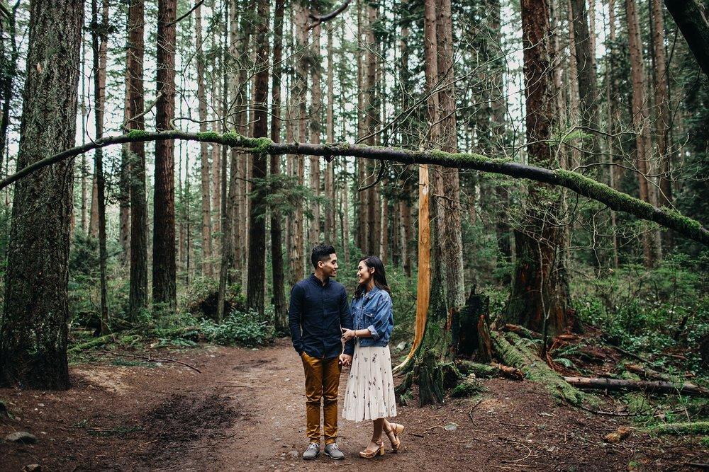 pacific spirit park engagement forest couple