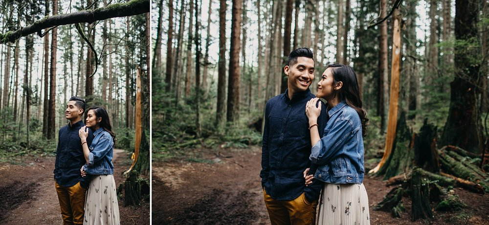 pacific spirit park engagement session couple in forest vancouver